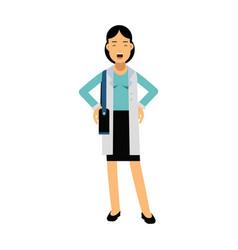 smiling businesswoman cartoon character in elegant vector image vector image