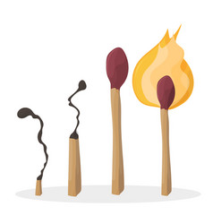 a set of cartoon matches burned match burning vector image