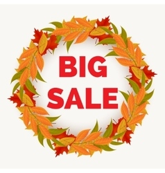 Autumn sale banner with leaves wreath vector