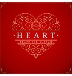 Heart vintage luxury logo template vector image