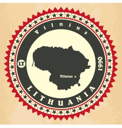 Vintage label-sticker cards of Lithuania vector image vector image