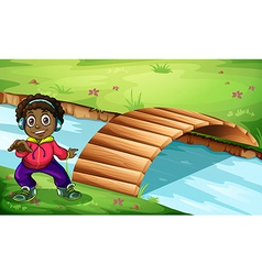 A boy near the bridge vector image