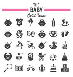 baby solid icon set kid symbols collection vector image vector image