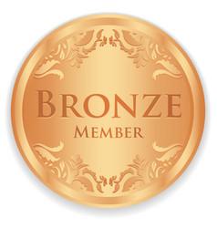 Bronze member badge with vintage pattern vector