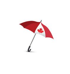 canada flag colored umbrella travel canada sign vector image