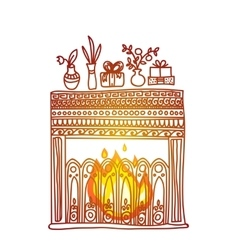 hand drawn background Fireplace gifts and vector image