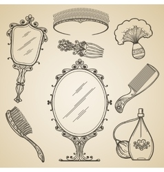 Hand drawn vintage beauty and retro makeup items vector image vector image