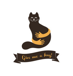 hands with cat silhouette logo pets care vector image