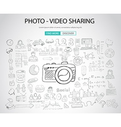Photo Video Sharing concept with Doodle design vector image