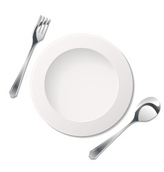 cutlery with plate vector image vector image