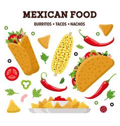 mexican food color set vector image