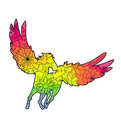 Pegasus with transition colors vector
