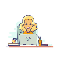 woman using laptop vector image