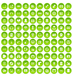 100 set green circle vector