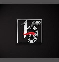 19 years anniversary logotype with square silver vector