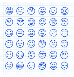 A set emoji icons drawn hand on squared vector
