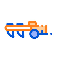 agricultural cultivator thin line icon vector image