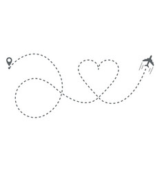 Airplane heart shaped line path vector