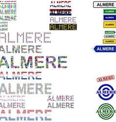 Almere text design set vector