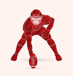 american football pose graphic vector image