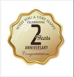 Anniversary retro label 2 years vector