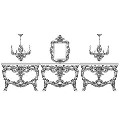Baroque furniture set with luxurious ornaments vector