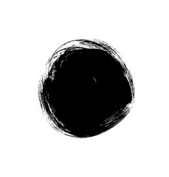 black paint ink brush stroke circle shape vector image