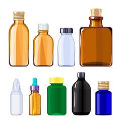 bottles for drugs and pills medical bottles vector image