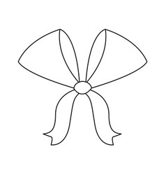 bow ribbon decoration xmas celebration outline vector image