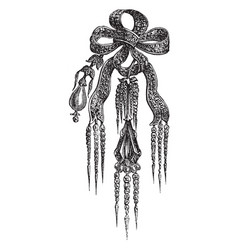 Brooch knot diamonds vintage engraving vector