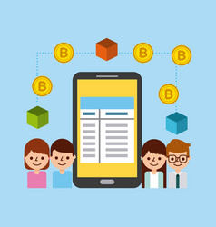 business people mobile phone bitcoin blockchain vector image