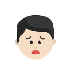 Cartoon man face sad expression vector