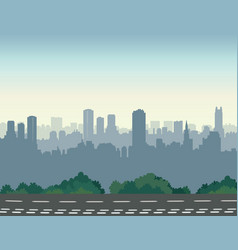 City street skyline urban landscape with road and vector