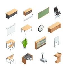 Classroom Interior Elements Icons Set vector