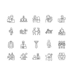 Clerks line icons signs set outline vector