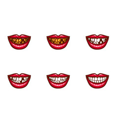 Clipart of female mouths with dental problems vector