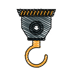 color crayon stripe cartoon industrial crane hook vector image