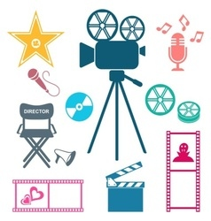 Colorful movie and music icons Movie and music vector image