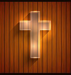 Cross on wooden background eps 10 vector