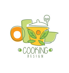 Culinary hand drawn cooking logo original design vector