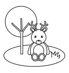 cute and tender reindeer in the jungle character vector image