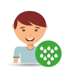 Cute boy eco water drop icon vector
