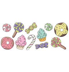 Cute donuts candy cupcakes with eyes icing and vector