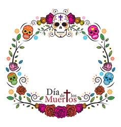 day dead skulls frame vector image