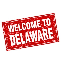 Delaware red square grunge welcome to stamp vector