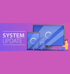 Device system update concept banner cartoon style vector