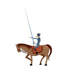 Don quixote and horse pose vector