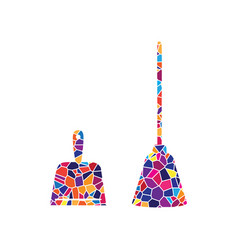 Dustpan sign scoop for cleaning garbage housework vector