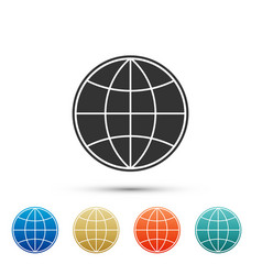 earth globe icon isolated on white background vector image
