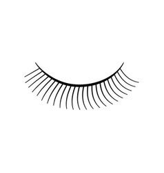 eyelashes sign filled black icon at white vector image